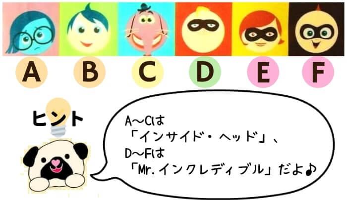 ピクサーキャラクターの名前当てクイズ⑤
