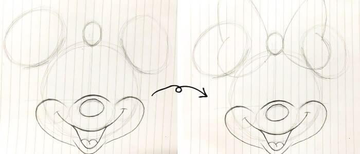 ミニーマウスのイラストの描き方5