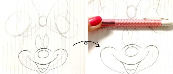 ミニーマウスのイラストの描き方6