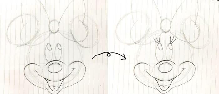 ミニーマウスのイラストの描き方7