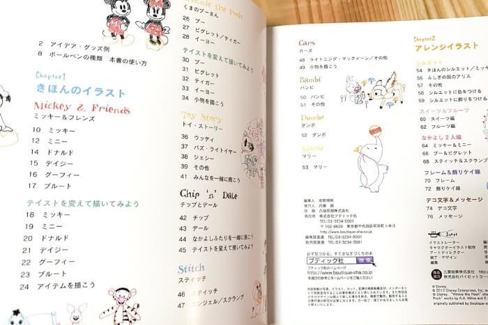 ディズニーキャラクターのイラスト描き方本:もくじ