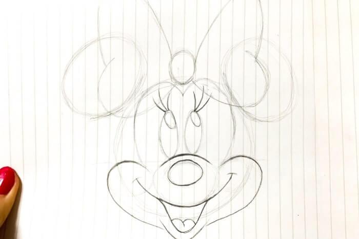 ミニーマウスのイラストの描き方8