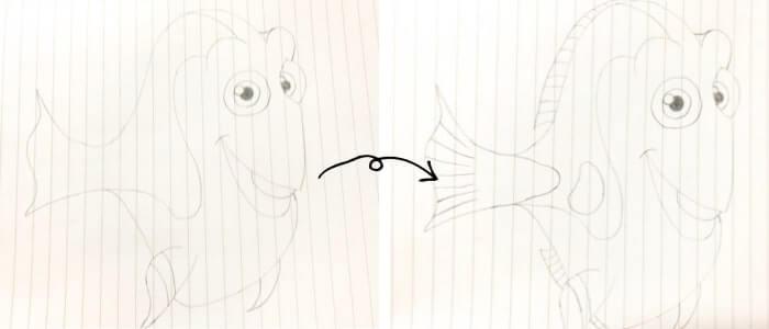 ドリー(ファインディング・ニモ)のイラストの描き方5