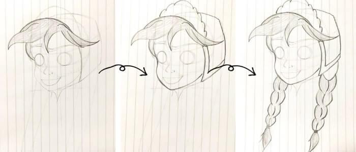 アナ(アナと雪の女王)のイラストの描き方6