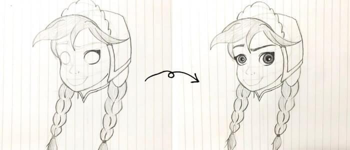アナ(アナと雪の女王)のイラストの描き方7