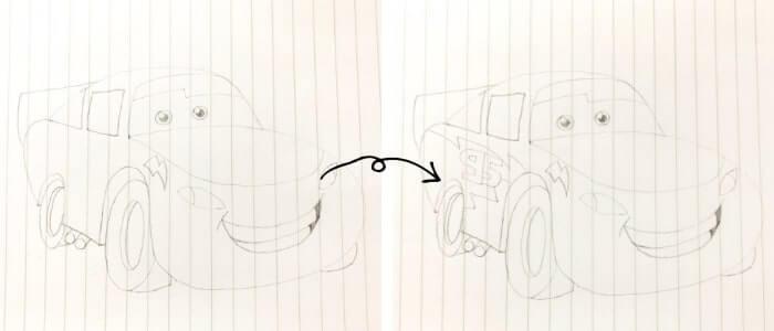 ライトニング・マックイーン(カーズ)のイラストの描き方6