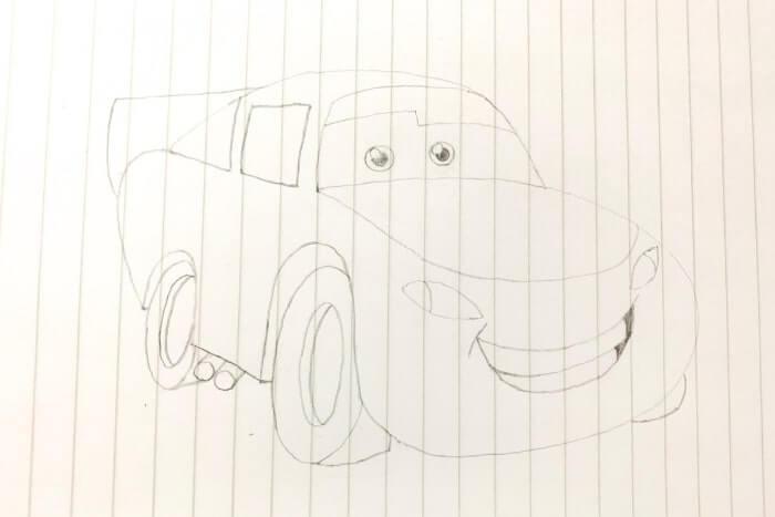 ライトニング・マックイーン(カーズ)のイラストの描き方5