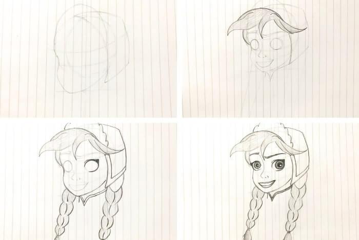ディズニー映画のキャラクターの描き方<アナ>