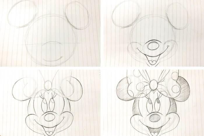 ディズニー映画のキャラクターの描き方<ミニーマウス>